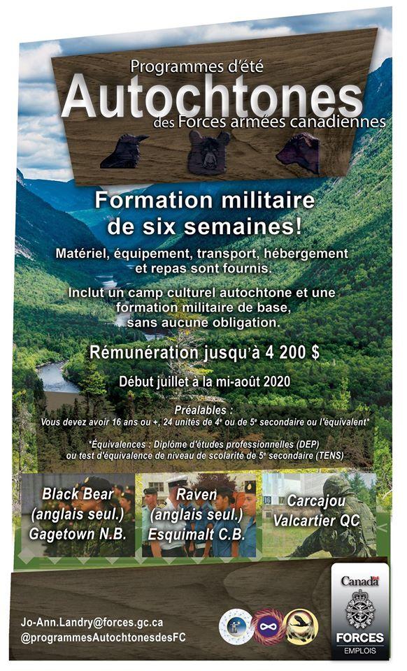 Programme d'été Autochtones des Forces armées canadiennes