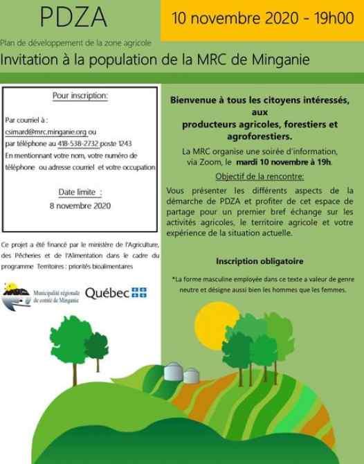 plan de développement de la zone agricole MRC minganie